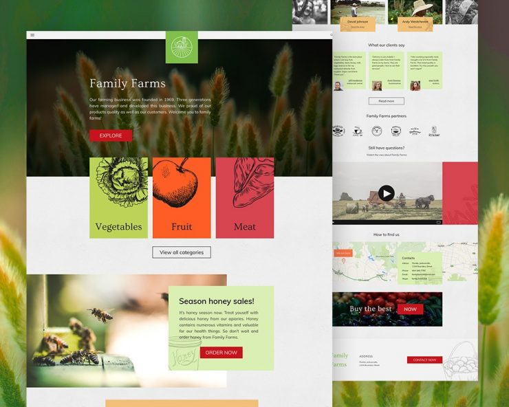 Agriculture Website Template PSD