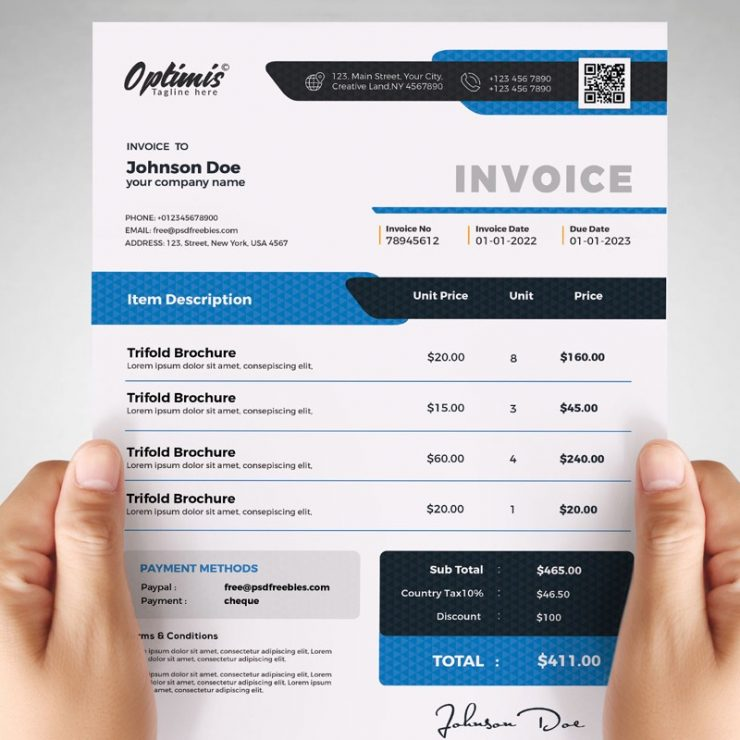 Billing Invoice Template Design PSD