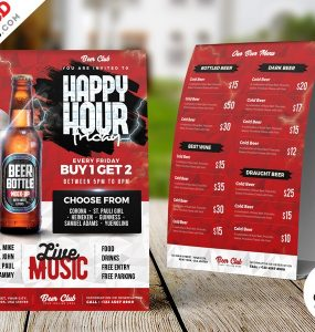 Happy Hour Tent Card Menu PSD Template
