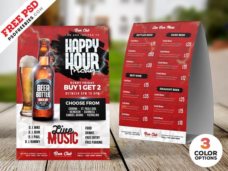 Happy Hour Tent Card Menu Psd Template Download Psd