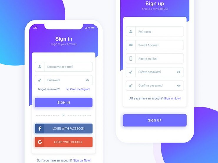 Sign In & Sign Up App UI Kit PSD