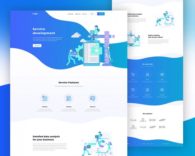 Clean Landing Page PSD Template