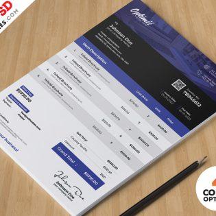 Corporate Invoice Design Template PSD