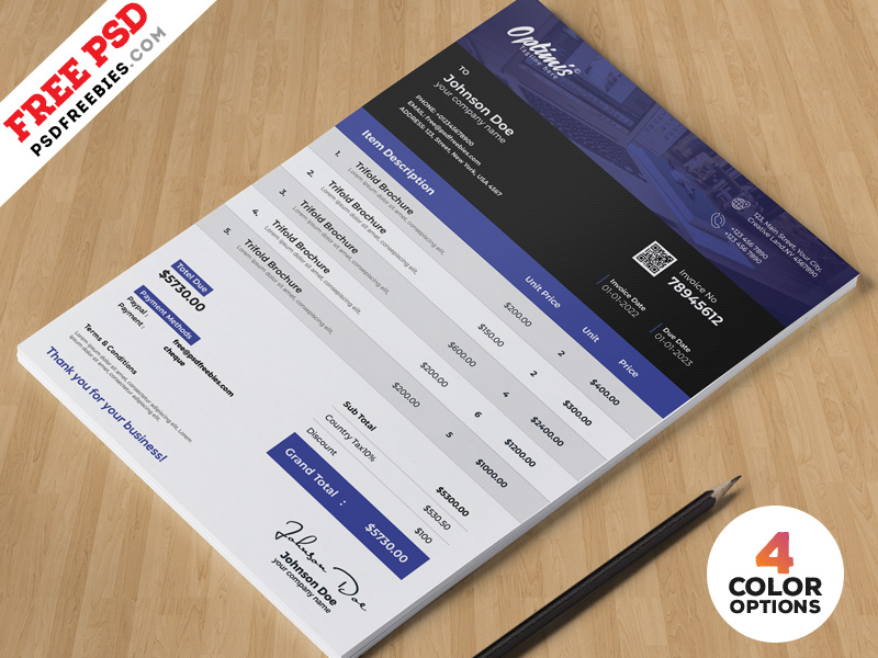 Corporate Invoice Design Template Psd Download Download Psd