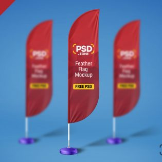 Free Feather Flag Mockup PSD Template