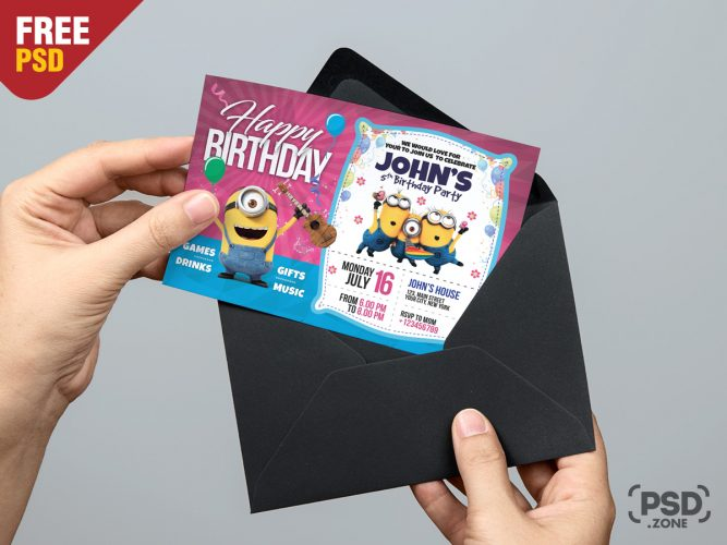 Kids Birthday Invitation Card Template