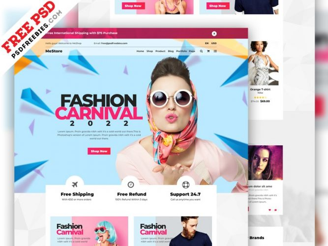 Multipurpose e-Commerce Website Template PSD