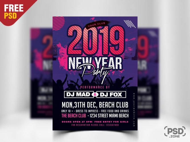 New Year 2019 Party Flyer Template