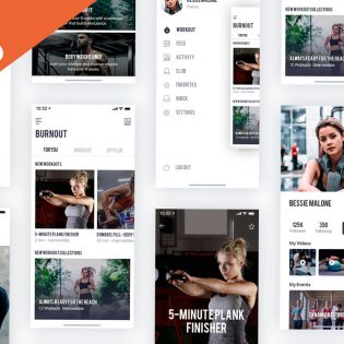 Fitness Mobile App Templates PSD