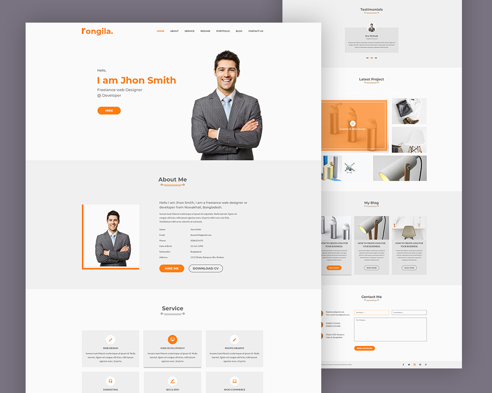 Free Personal Portfolio Website Template Download Psd