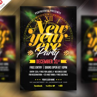 New Year 2019 Party Flyer PSD