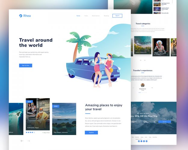 Travel Agency Website PSD Template