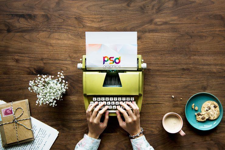 Typing on Typewriter Mockup