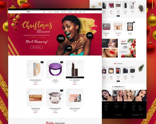 Cosmetics Store Website Template PSD