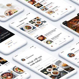 Food Recipe App UI Kit PSD