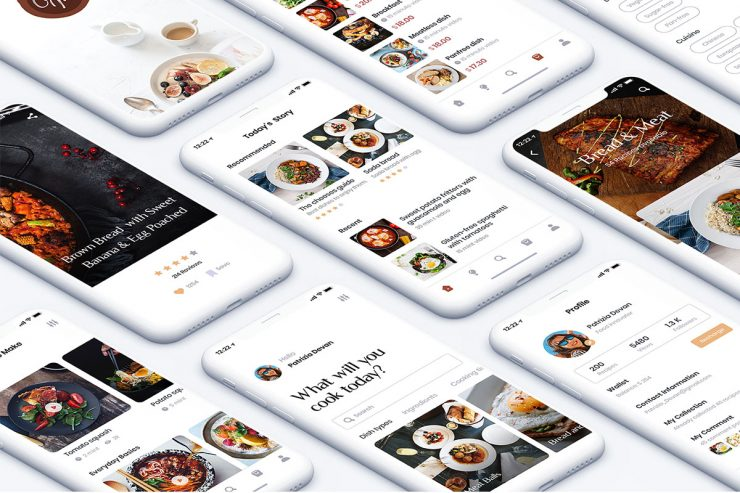 Food Recipe App UI Kit PSD