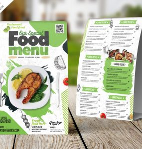 Restaurant Food Menu Tent Card Design PSD