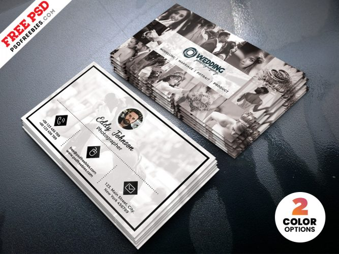 Wedding Photographer Business Card Template PSD