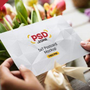 5x7 Postcard Mockup PSD