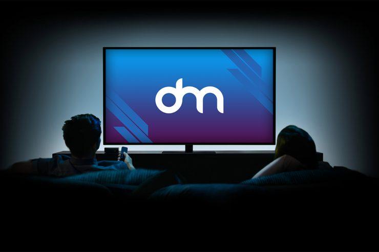Family Watching TV Mockup