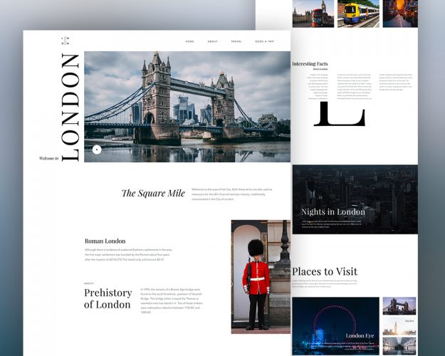 Minimalist Travel Website Template PSD