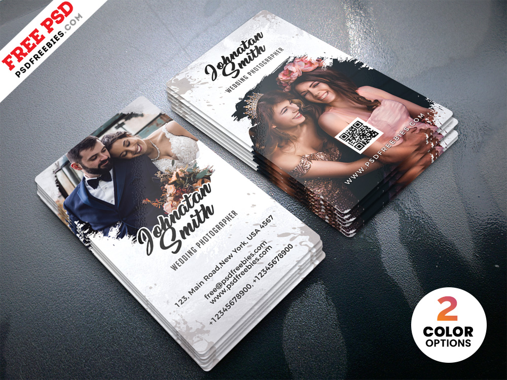 wedding photographer business card template  download psd