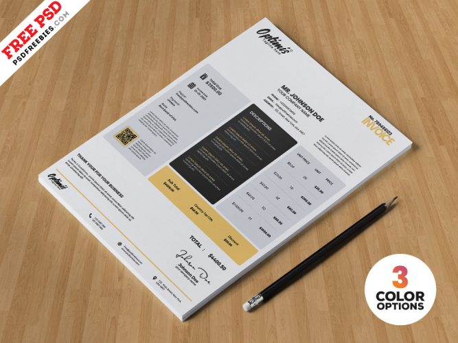 Free Invoice Template Design PSD