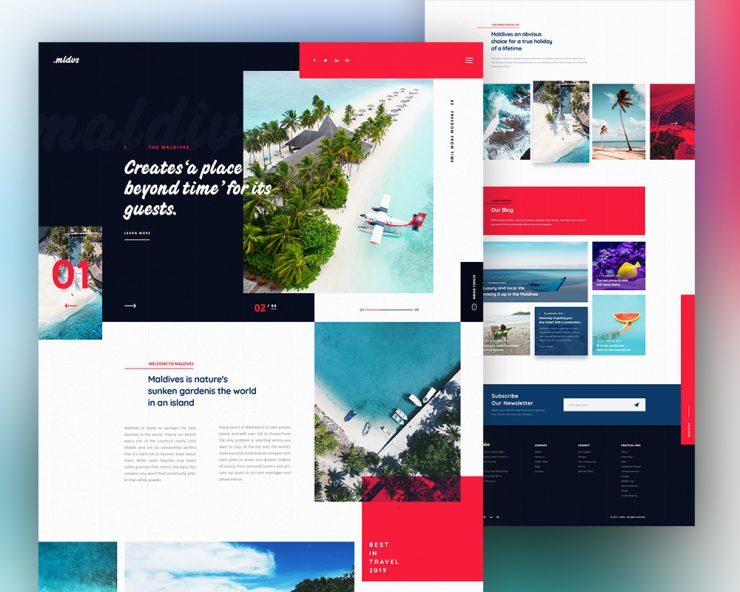 Travel Destination Website Template PSD