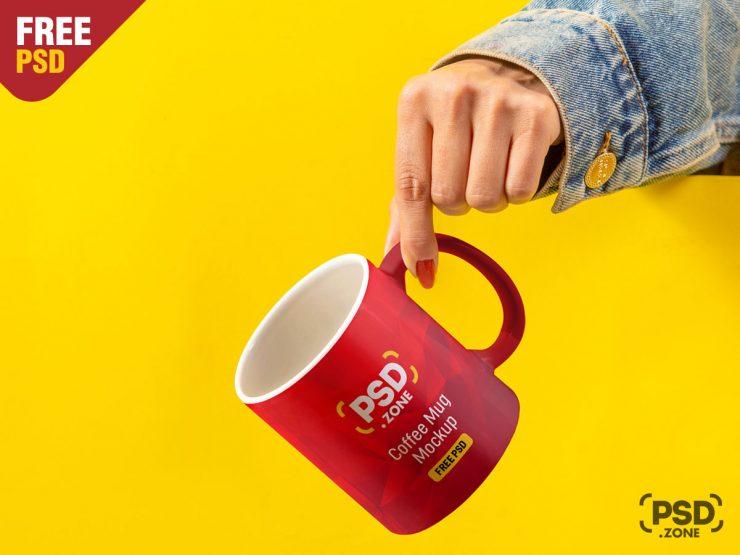 Holding Coffee Cup PSD Mockup