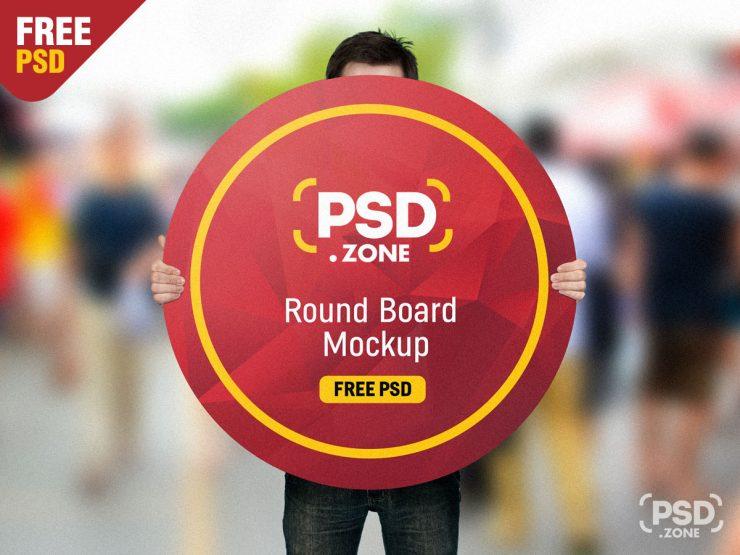 Holding Round Board Mockup