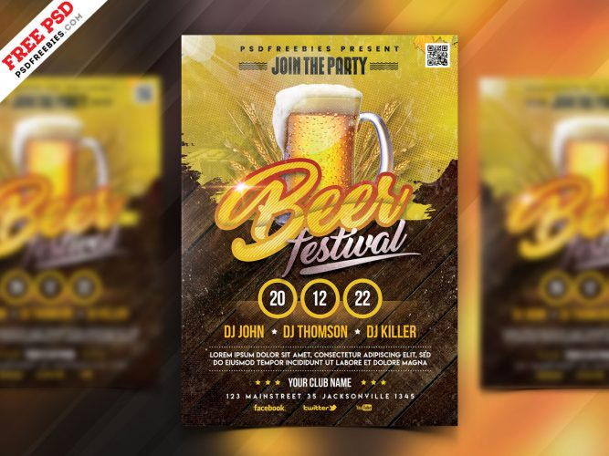 Beer Festival Flyer PSD Template