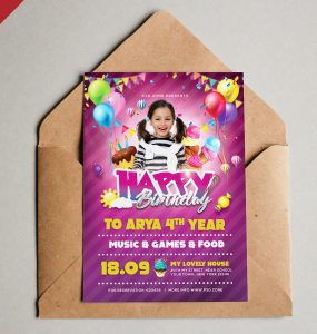 Birthday Invitation Card PSD Template