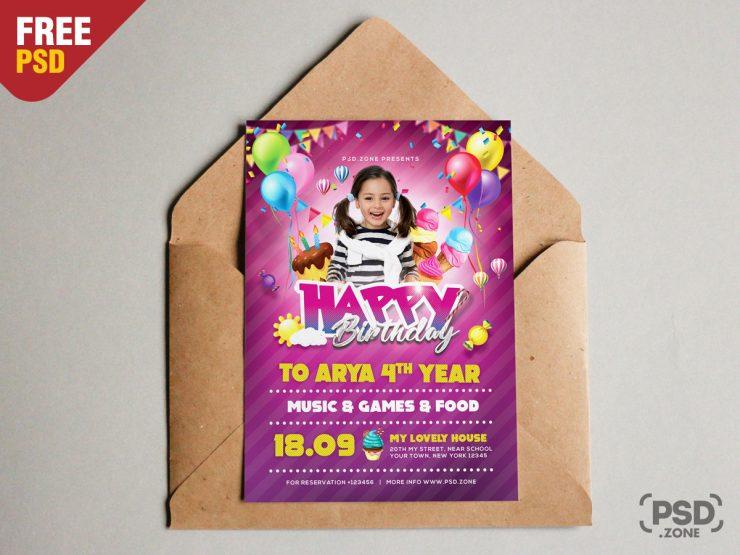 Birthday Invitation Card PSD Template
