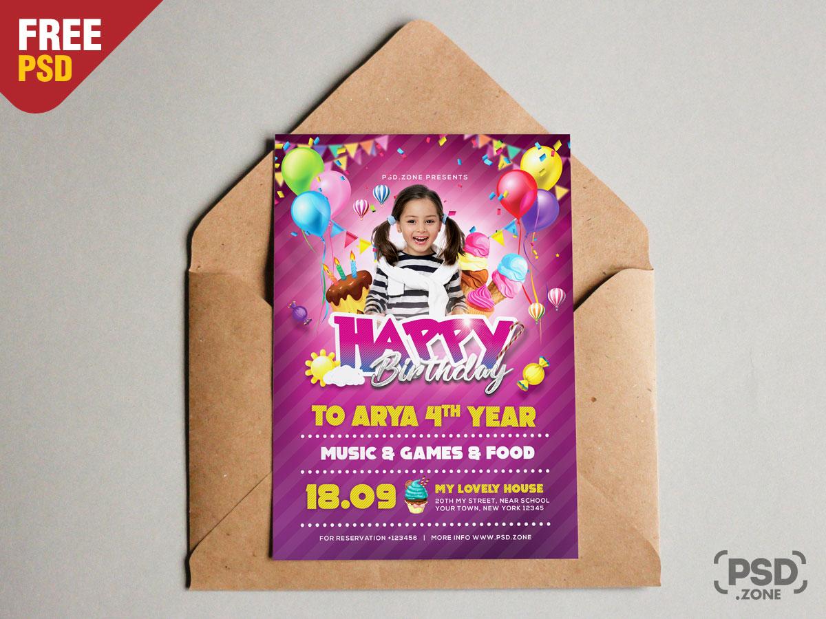 Birthday Invitation Card Psd Template Download Psd