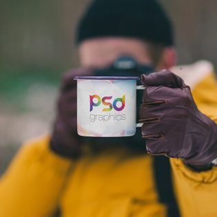 Enamel Mug Mockup PSD Template