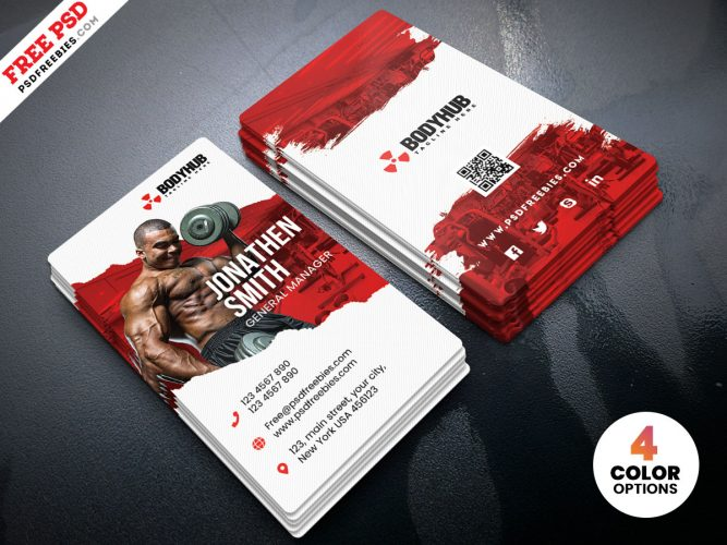 Fitness Gym Business Card Template PSD