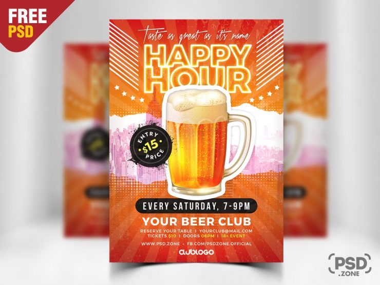 Happy Hour Promotion Flyer PSD