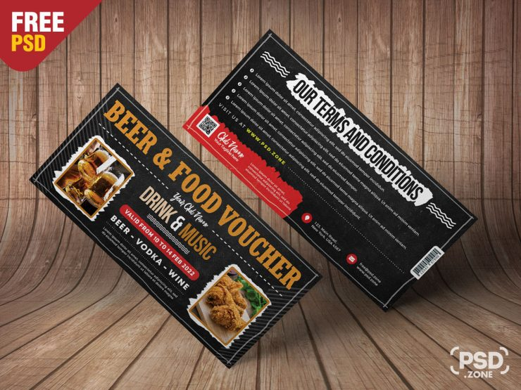 Drink and Food Voucher Design Template