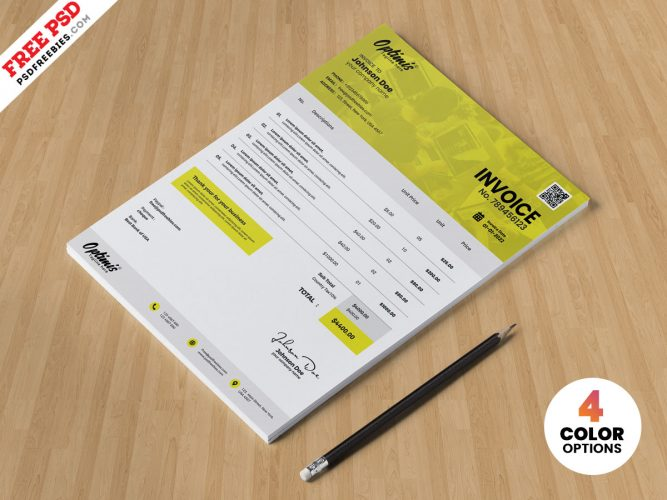 Free A4 Size Invoice Template PSD