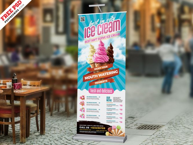 Ice Cream Parlour Roll-up Banner Design