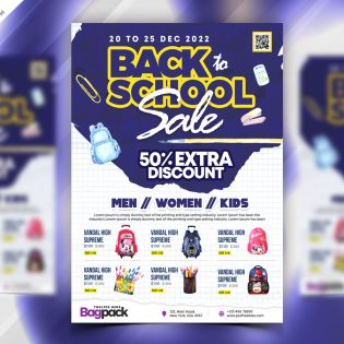 Back to School Sale Flyer Design Template