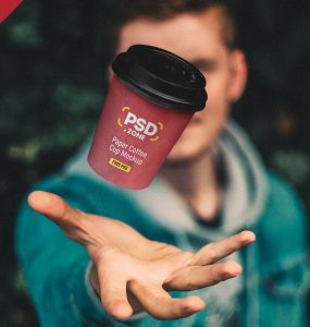 Floating Paper Coffee Cup Mockup PSD