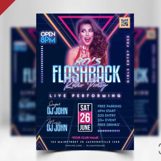 Retro Party Flyer Design Template