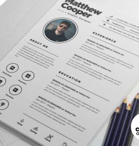 Clean Resume CV Design Template PSD