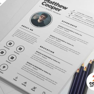 Clean Resume CV Design Template PSD