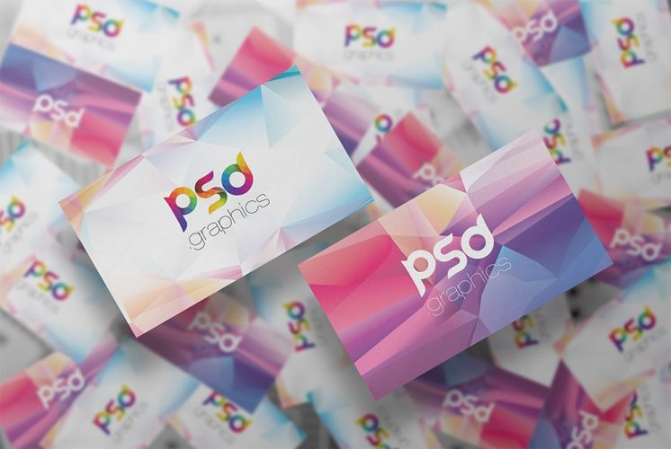 Floating Business Cards Mockup PSD