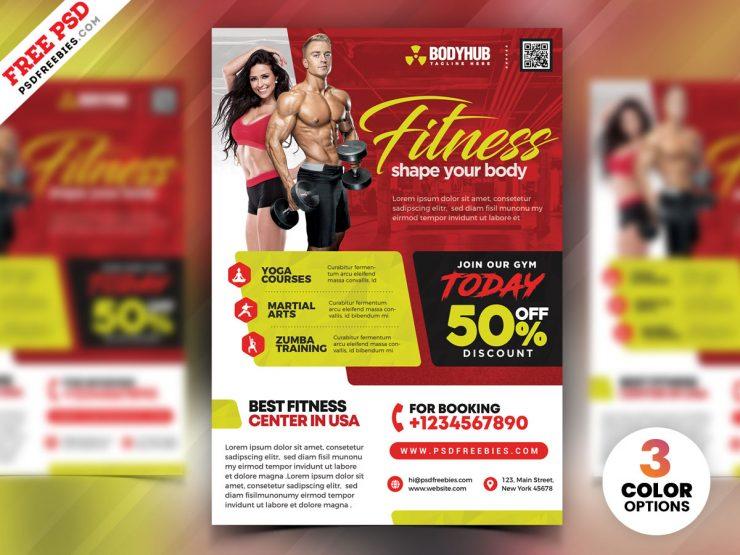 Gym Fitness Center Flyer Design Template