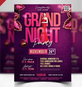 Red Carpet Party Flyer Template