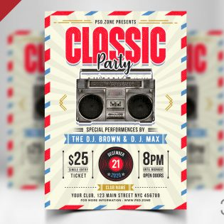 Retro Style Party Flyer PSD Template