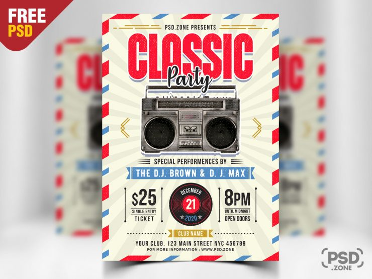 Retro Style Flyer PSD Template